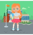 Girl with Books and Copybooks on School Yard vector image vector image