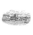 hand drawn rural landscape farm vineyard vector image