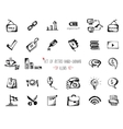 Hand-drawn sketch web icon set - office economy vector image vector image