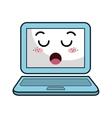kawaii cartoon laptop vector image vector image