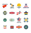 labor day workers logotype icons set flat style vector image vector image