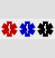medical star symbols in three color variations vector image