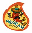 mexican kitchen logo chili wear hat cartoon vector image vector image