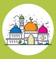 modern line style islamic mosque vector image vector image