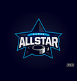 modern professional emblem all star for hockey vector image vector image