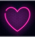neon sign in heart shape glowing neon heart on vector image vector image