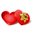 open gift heart with gold bow vector image vector image