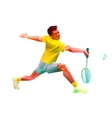 Polygonal professional badminton player vector image vector image