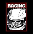 racing skull helmet hand drawing vector image vector image