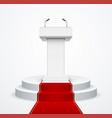 realistic detailed 3d white blank podium tribune vector image vector image