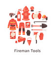 red fire extinguisher and firefighters tools vector image