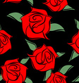 Red Roses on black background seamless pattern vector image