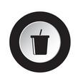 round black white button icon - cold drink straw vector image