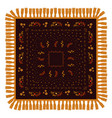 russian shawl decorated with gold and red pattern vector image