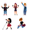 set of characters of teenagers who play and sing vector image