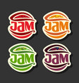 set simple fruits jam labels vector image vector image