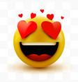 smile in love emoticon icon love hearts in eyes vector image vector image