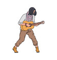 street musician man playing guitar sketch cartoon vector image vector image