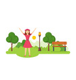 the girl came in the summer park and recreation vector image