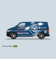 tire service blue delivery van template with vector image