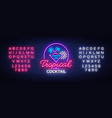 tropical cocktail neon sign cocktail logo neon vector image vector image