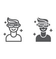 vr game line and glyph icon game and virtual vr vector image