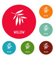willow leaf icons circle set vector image