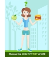 Woman choosing between eat apple or hamburger vector image