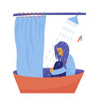 young woman girl sitting fully clothed in shower vector image