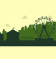 the carnival funfair scenery silhouette vector image