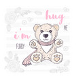 cute hand drawn teddy bear with scarf valentines vector image