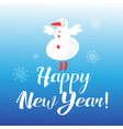 a happy new year with a cheerful snowman vector image vector image