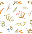 autumn season plants flat seamless pattern vector image vector image
