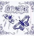 Butterflies doodle ornament vector image vector image