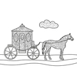 Carriage with horse coloring book vector image vector image