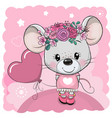 cartoon mouse with flowers and balloon on a pink vector image vector image