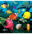 cartoon underwater world with fish starfish vector image