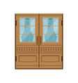 classic double wooden doors closed elegant front vector image vector image