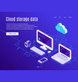 cloud storage landing page synchronization clouds vector image vector image