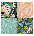 collage contemporary tropical and polka dot shapes vector image vector image