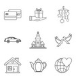 companion icons set outline style vector image vector image
