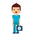 doctor with kit medical isolated icon design vector image vector image