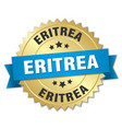 eritrea round golden badge with blue ribbon vector image vector image