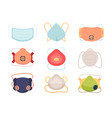 face protection mask set stylish medical vector image