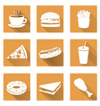 fast food flat orange icons with shadow set eps10 vector image vector image