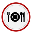 Fork spoon and plate icon vector image vector image