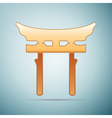 Gold Japan Gate Torii icon on blue background vector image vector image