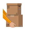 hand of courier with postal cardboard box vector image vector image