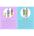 happy family smiling people daughter and pet dog vector image vector image