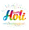 Happy Holi sign with colorful triangles vector image
